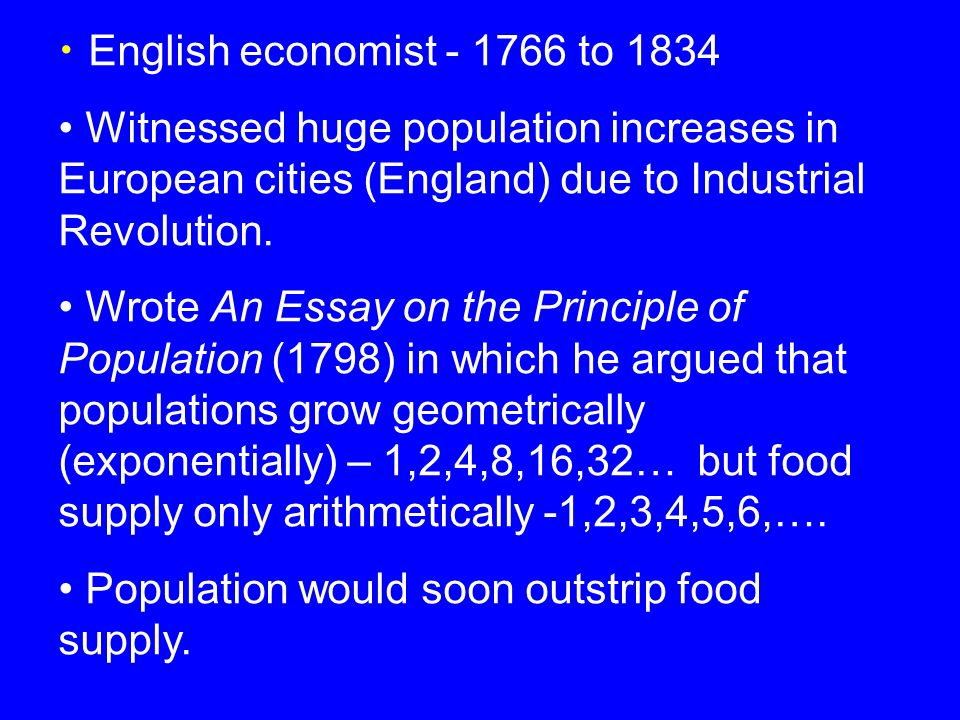 Thomas Malthus And Others English Economist To  Witnessed   English Economist