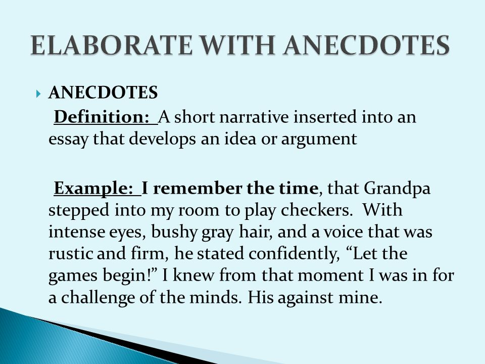 anecdotal essay definition Anecdote definition is - a usually short narrative of an interesting, amusing, or biographical incident how to use anecdote in a sentence the greek smear job at the.