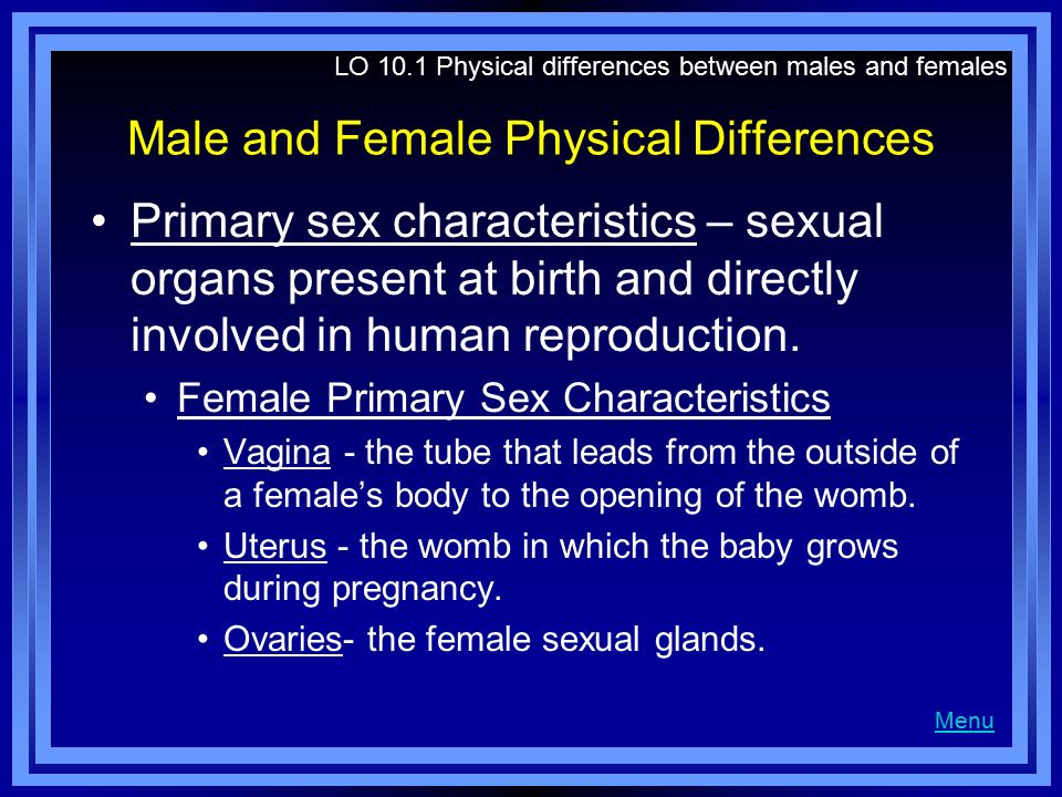 Male and Female Physical Differences Primary sex characteristics – sexual organs present at birth and directly involved in human reproduction. Female