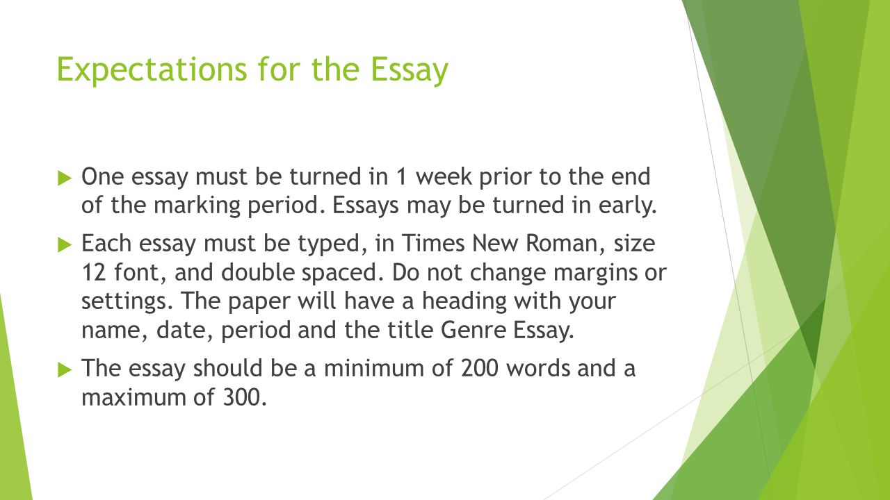 genre essay mrs duffey c ela what is a genre a genre is a expectations for the essay 61557 one essay must be turned in 1 week prior to the