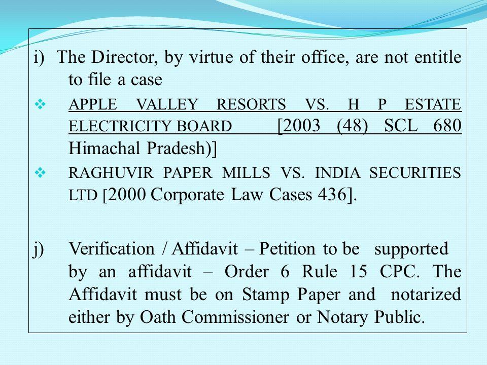 chief affidavit ni act
