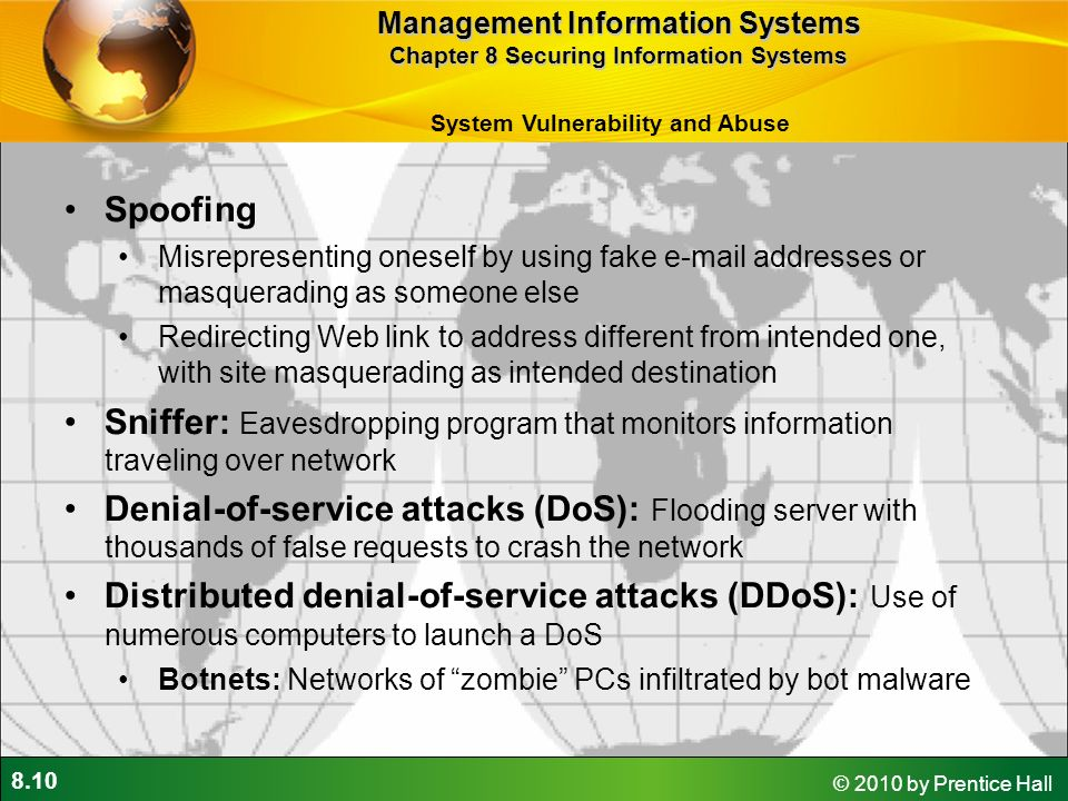 8.1 © 2010 by Prentice Hall 8 Chapter Securing Information Systems ...