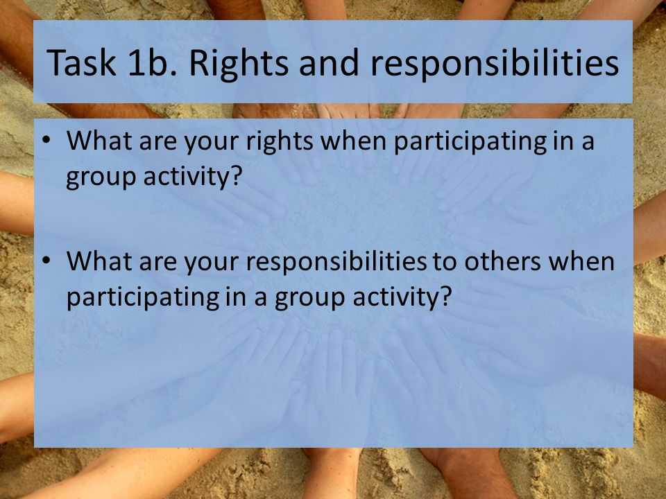 Task 1b. Rights and responsibilities What are your rights when participating in a group activity.