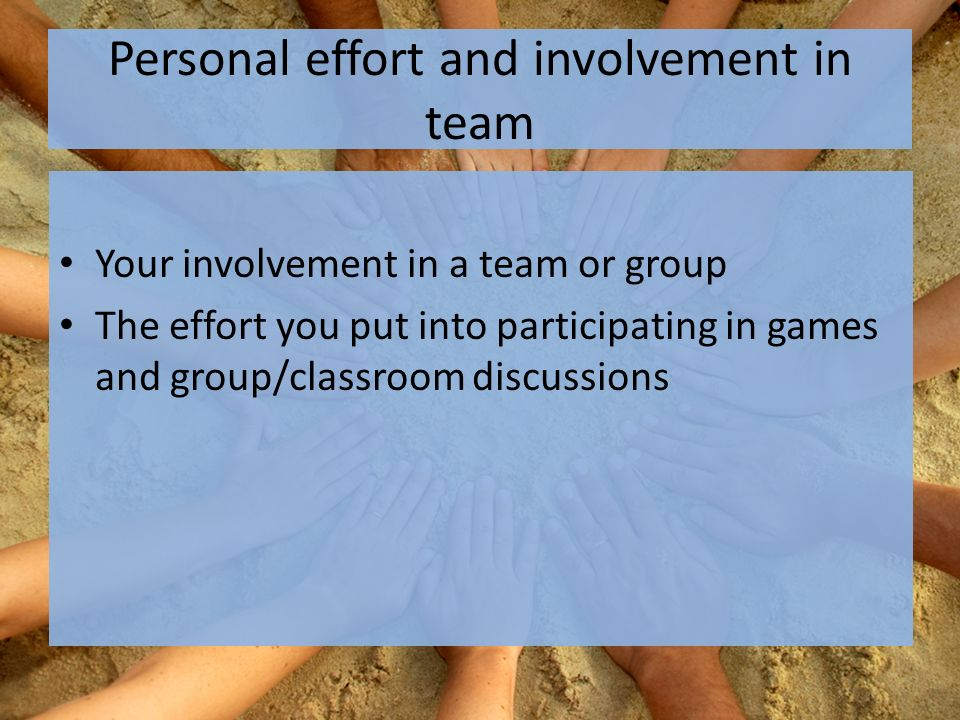 Personal effort and involvement in team Your involvement in a team or group The effort you put into participating in games and group/classroom discussions