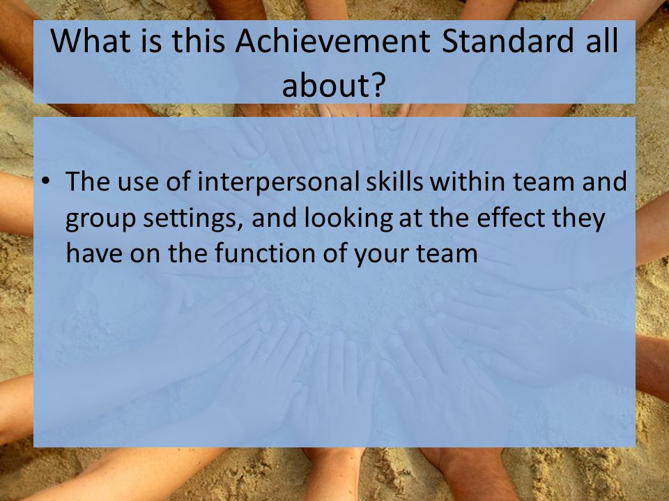 By the end of the term… All of you: Would have been given many opportunities to participate in a variety of team sports and activities All of you: Will be able to demonstrate a variety of interpersonal skills (at different levels) All of you: Will be able to describe the effects of using different interpersonal skills has on the your group/team
