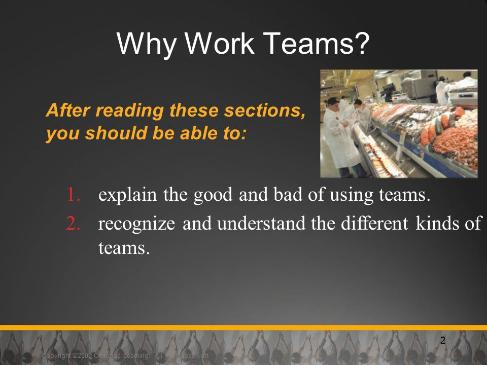 Copyright ©2008 Cengage Learning. All rights reserved 2 Why Work Teams.