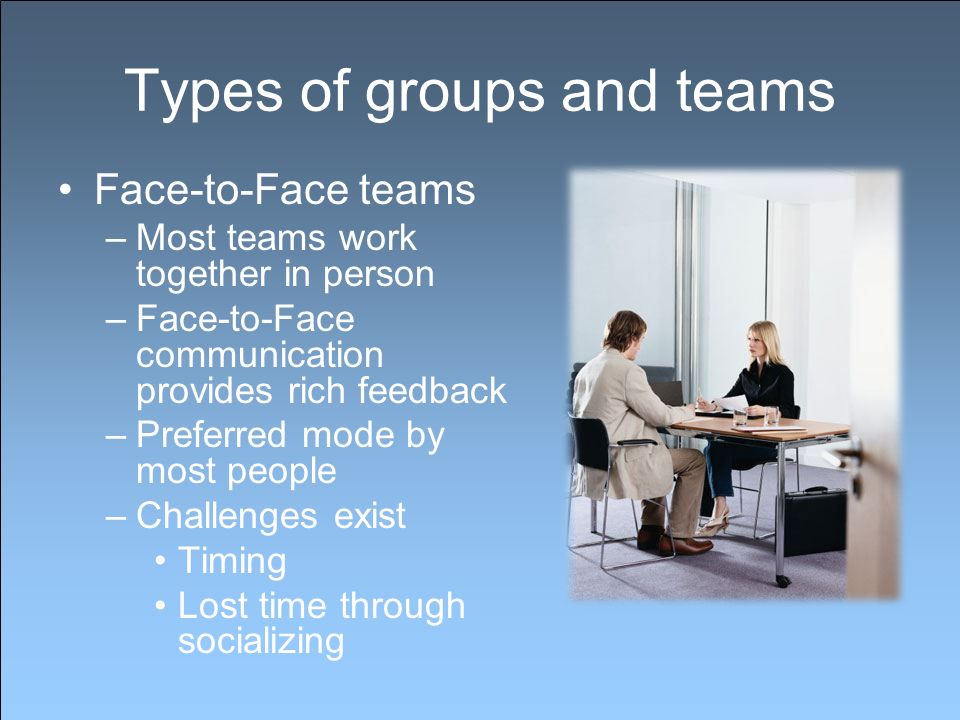 Types of groups and teams Face-to-Face teams –Most teams work together in person –Face-to-Face communication provides rich feedback –Preferred mode by