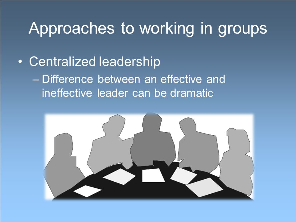 Approaches to working in groups Centralized leadership –Difference between an effective and ineffective leader can be dramatic