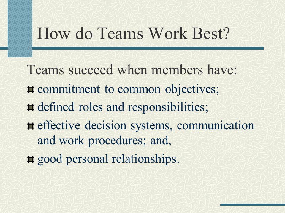 How do Teams Work Best.