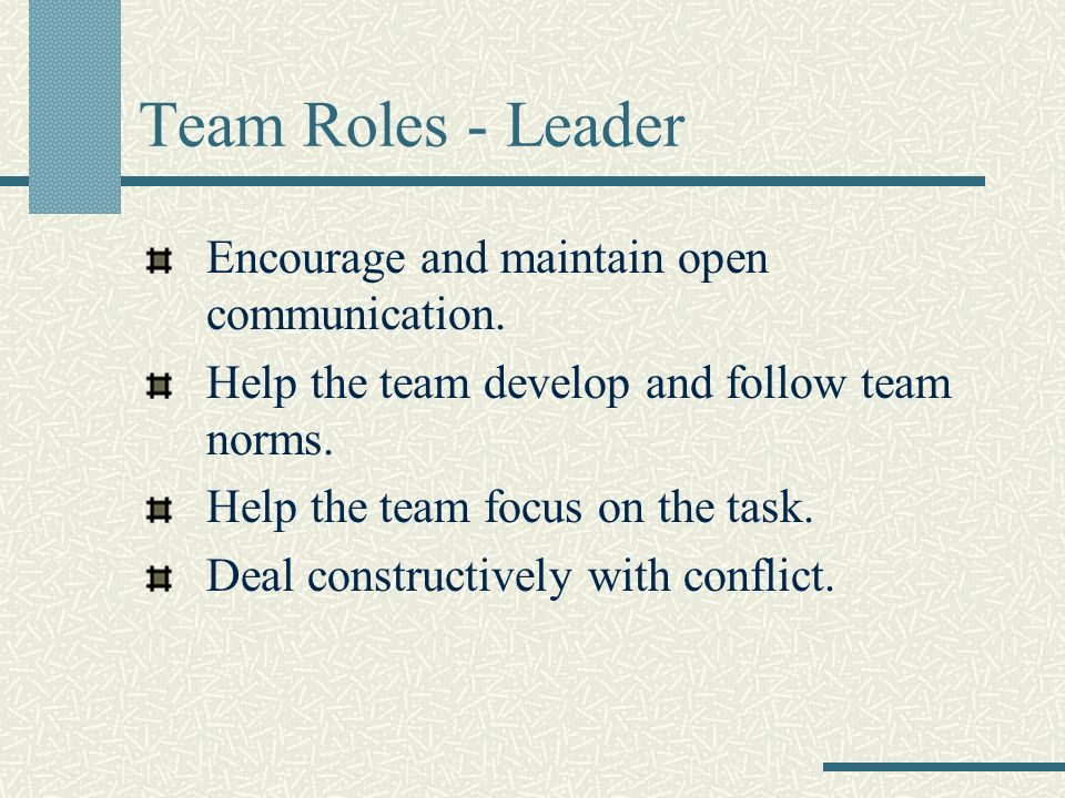 Team Roles - Leader Encourage and maintain open communication.