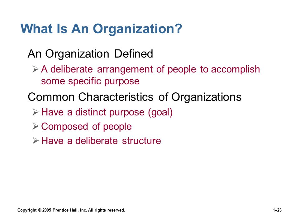 Copyright © 2005 Prentice Hall, Inc. All rights reserved.1–23 What Is An Organization? An Organization Defined  A deliberate arrangement of people to
