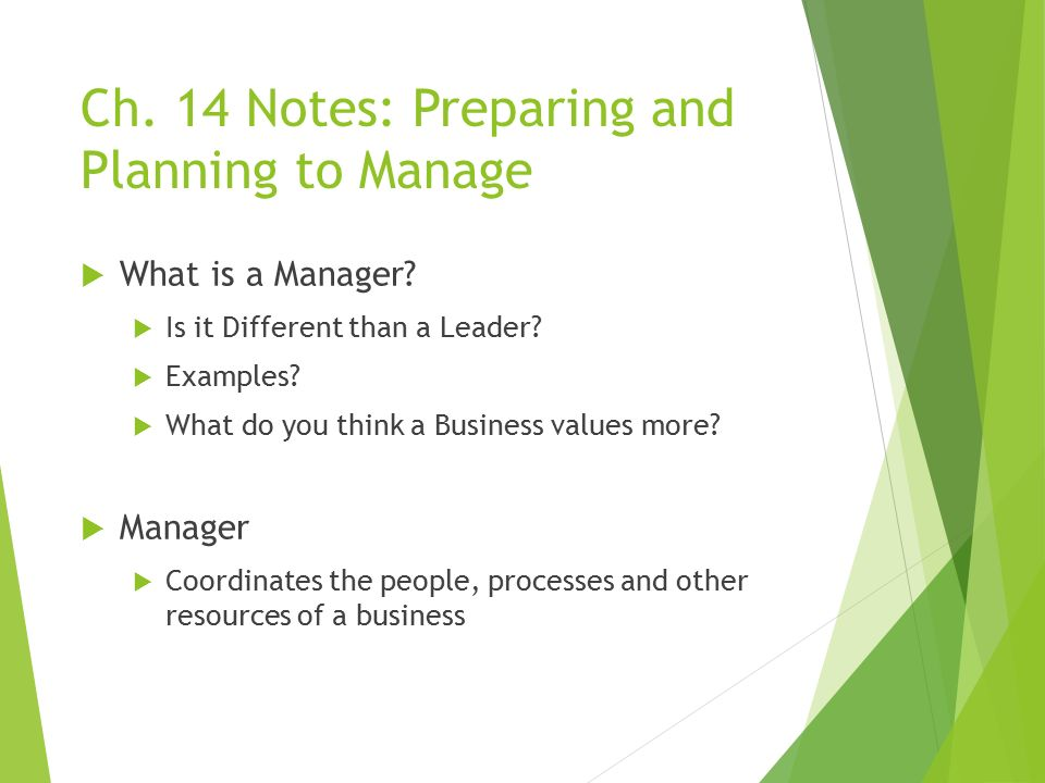 Ch.14 Notes: Preparing and Planning to Manage  A Manager's Role  What do your bosses do.