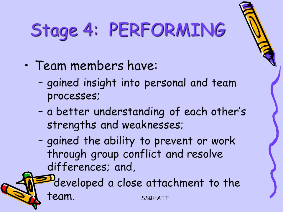 SSBHATT Stage 4: PERFORMING Team members have: –gained insight into personal and team processes; –a better understanding of each other's strengths and weaknesses; –gained the ability to prevent or work through group conflict and resolve differences; and, – developed a close attachment to the team.