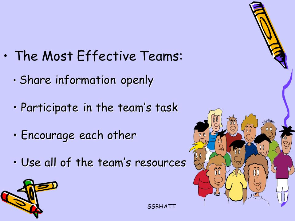 SSBHATT The Most Effective Teams: Share information openly Share information openly Participate in the team's task Participate in the team's task Encourage each other Encourage each other Use all of the team's resources Use all of the team's resources