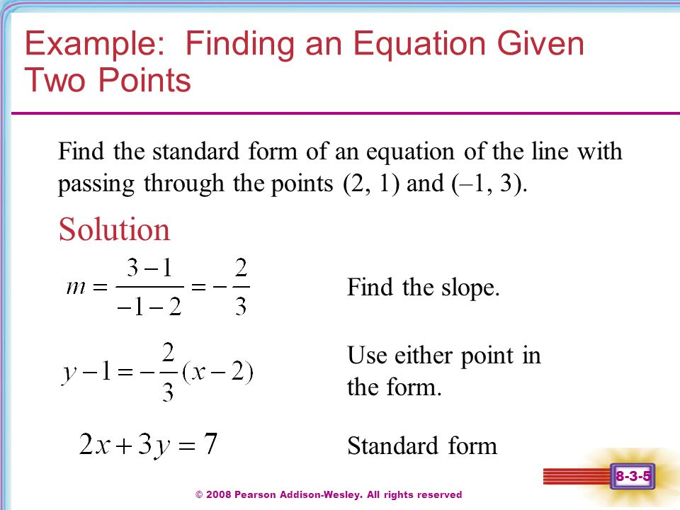 Write An Equation In Standard Form Given Two Points - Jennarocca