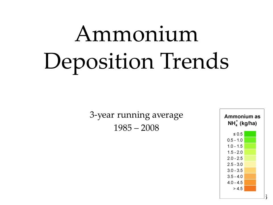 36 Ammonium Deposition Trends 3-year running average 1985 – 2008