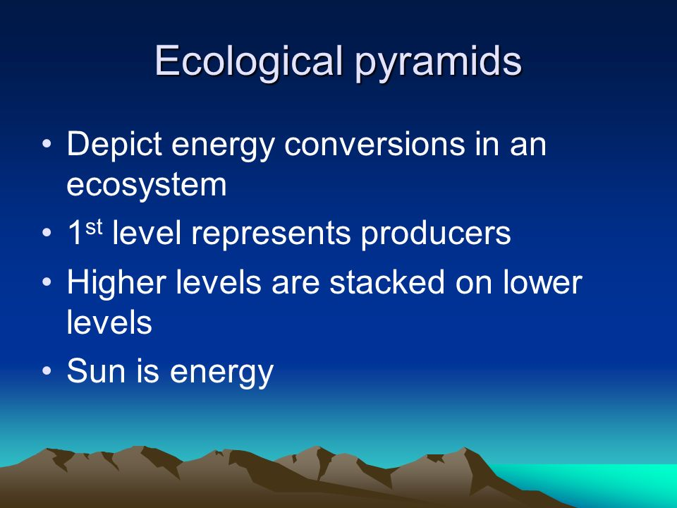 Ecological pyramids Depict energy conversions in an ecosystem 1 st level represents producers Higher levels are stacked on lower levels Sun is energy