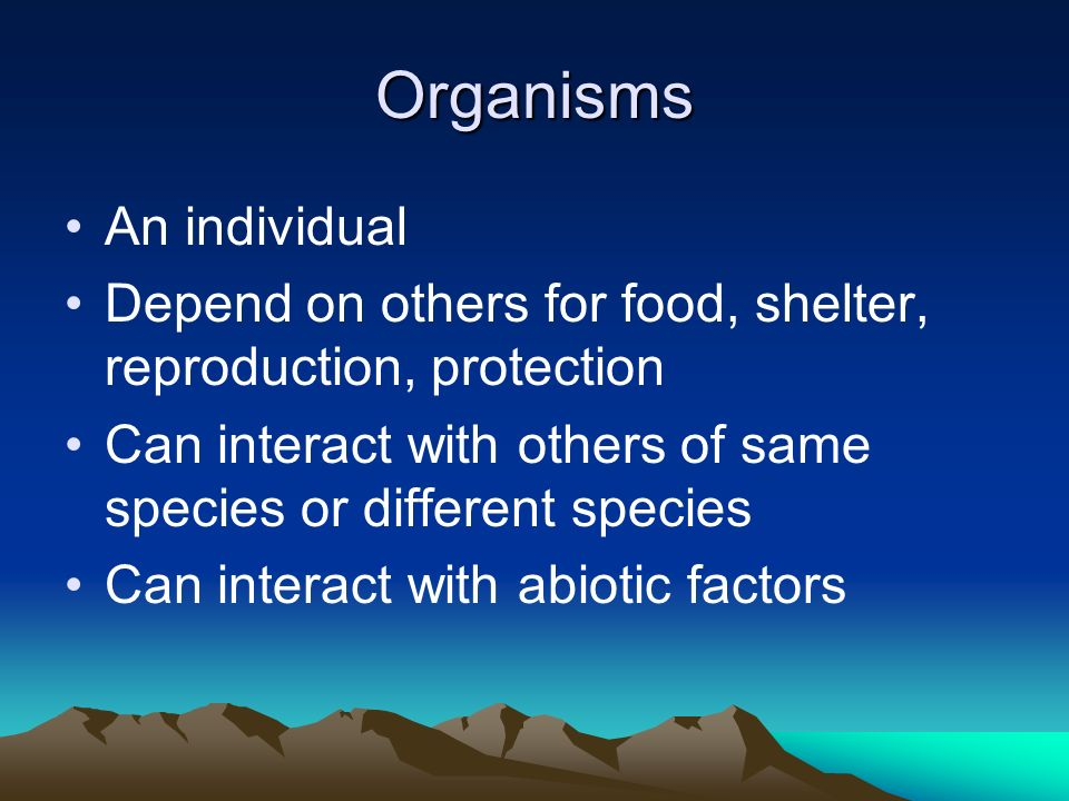 Organisms An individual Depend on others for food, shelter, reproduction, protection Can interact with others of same species or different species Can interact with abiotic factors