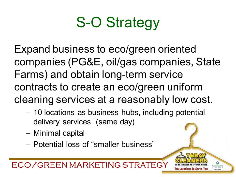 Eco/Green Marketing Strategy Today Cleaners M Arketing S Trategy