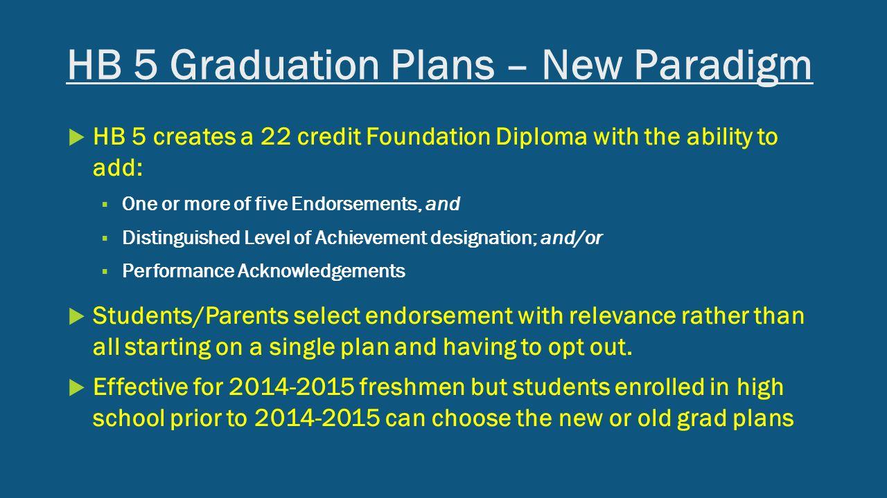Hb 5 Graduation Plans '�  New Paradigm ρ  Hb 5 Creates A 22 Credit
