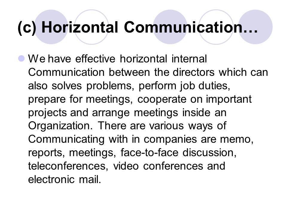 Chapter no one1 effective communications in business ppt c horizontal communication we have effective horizontal internal communication between the directors which sciox Choice Image