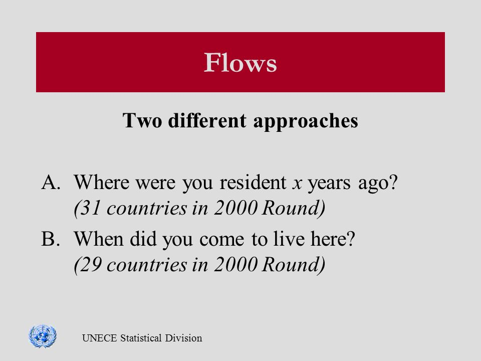 UNECE Statistical Division Flows Two different approaches A.Where were you resident x years ago.