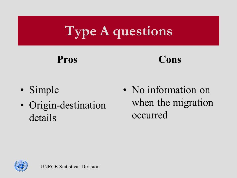 UNECE Statistical Division Type A questions Pros Simple Origin-destination details Cons No information on when the migration occurred