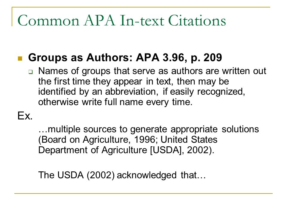 Alec 681 seminar apa style in text citations objectives discuss common apa in text citations groups as authors apa 396 p ccuart Gallery