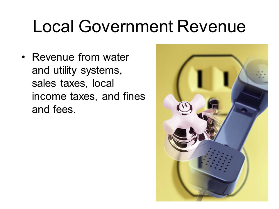 Local Government Revenue Revenue from water and utility systems, sales taxes, local income taxes, and fines and fees.