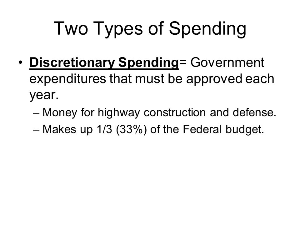 Two Types of Spending Discretionary Spending= Government expenditures that must be approved each year.
