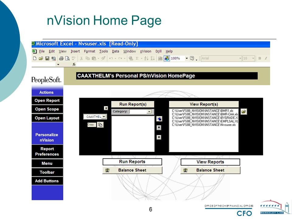 OFFICE OF THE CHIEF FINANCIAL OFFICER CFO PeopleSoft nVision ...