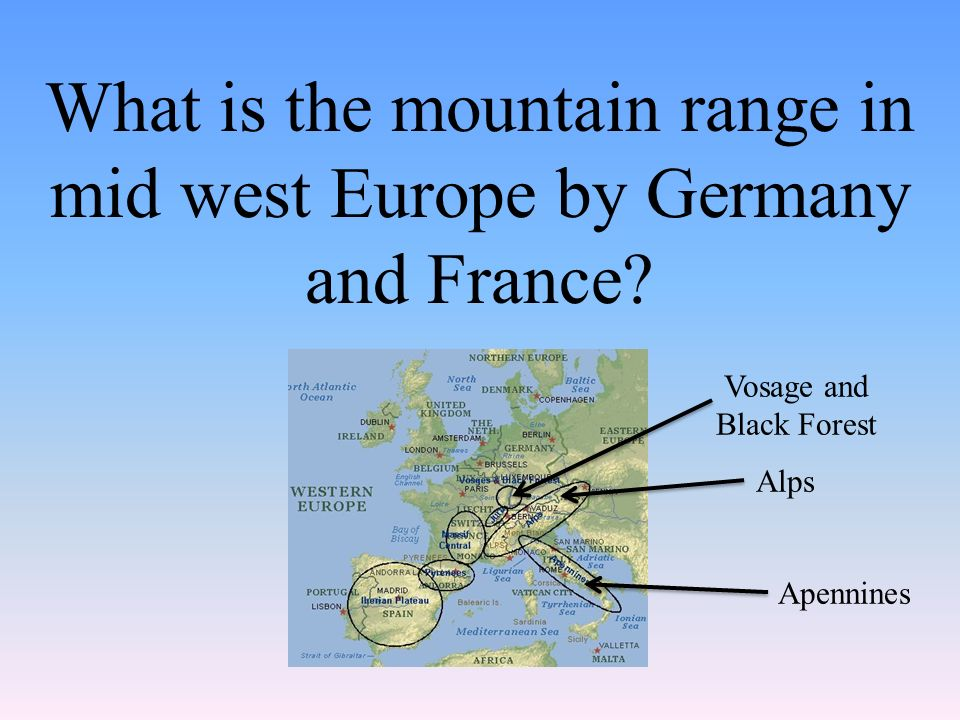 What is the mountain range in mid west Europe by Germany and France.