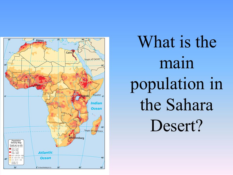 What is the main population in the Sahara Desert