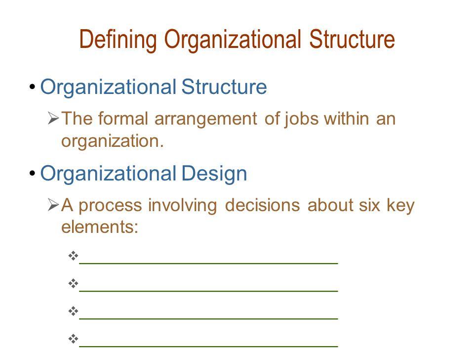 Defining Organizational Structure Organizational Structure  The formal arrangement of jobs within an organization. Organizational Design  A process