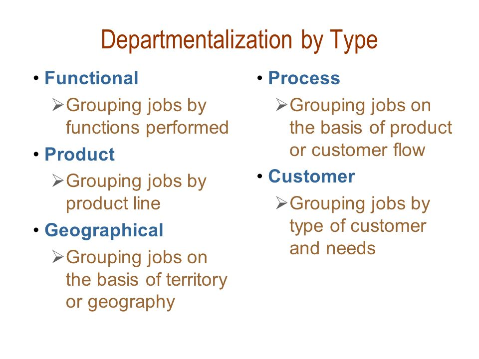Departmentalization by Type Functional  Grouping jobs by functions performed Product  Grouping jobs by product line Geographical  Grouping jobs on
