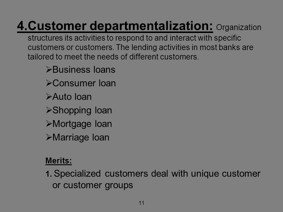 11 4.Customer departmentalization: Organization structures its activities to respond to and interact with specific customers or customers.
