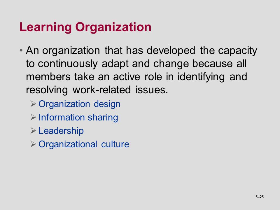 5–25 Learning Organization An organization that has developed the capacity to continuously adapt and change because all members take an active role in