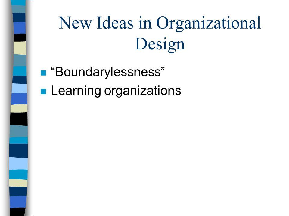 "New Ideas in Organizational Design n ""Boundarylessness"" n Learning organizations"