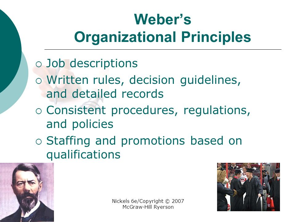Nickels 6e/Copyright © 2007 McGraw-Hill Ryerson Weber's Organizational Principles  Job descriptions  Written rules, decision guidelines, and detailed records  Consistent procedures, regulations, and policies  Staffing and promotions based on qualifications