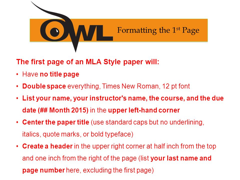 mla title page format 2015