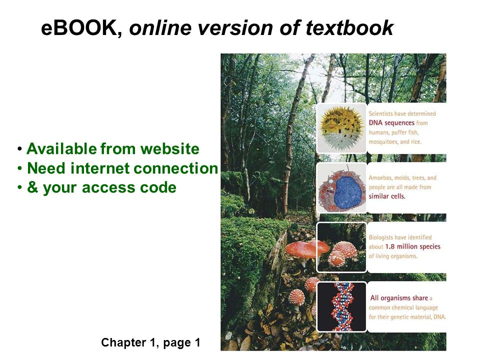 eBOOK, online version of textbook Available from website Need internet connection & your access code Chapter 1, page 1