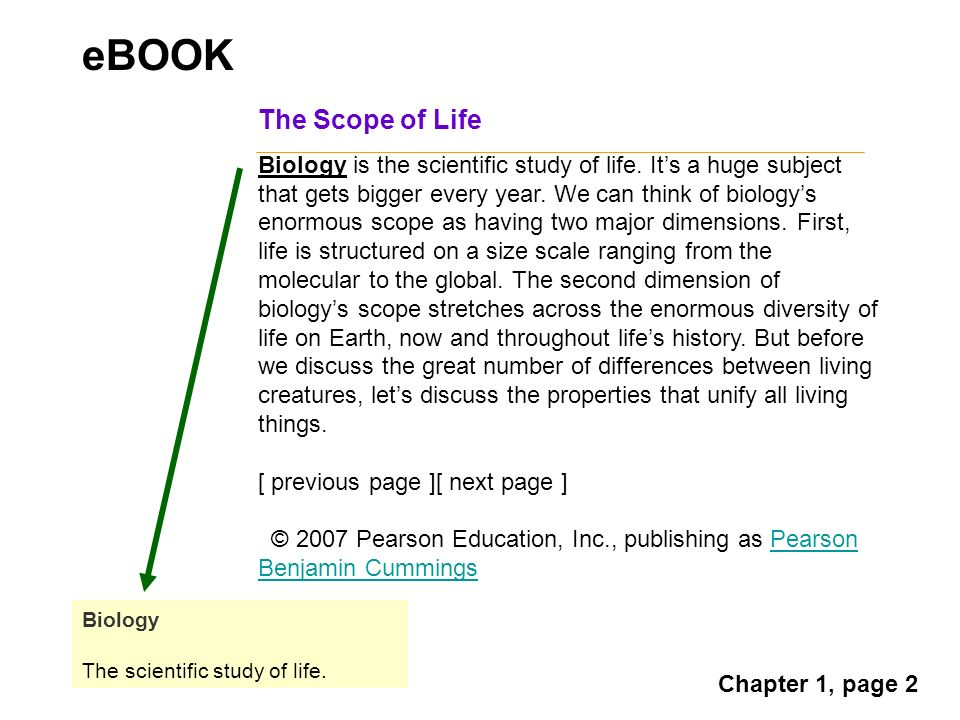 The Scope of Life Biology is the scientific study of life.