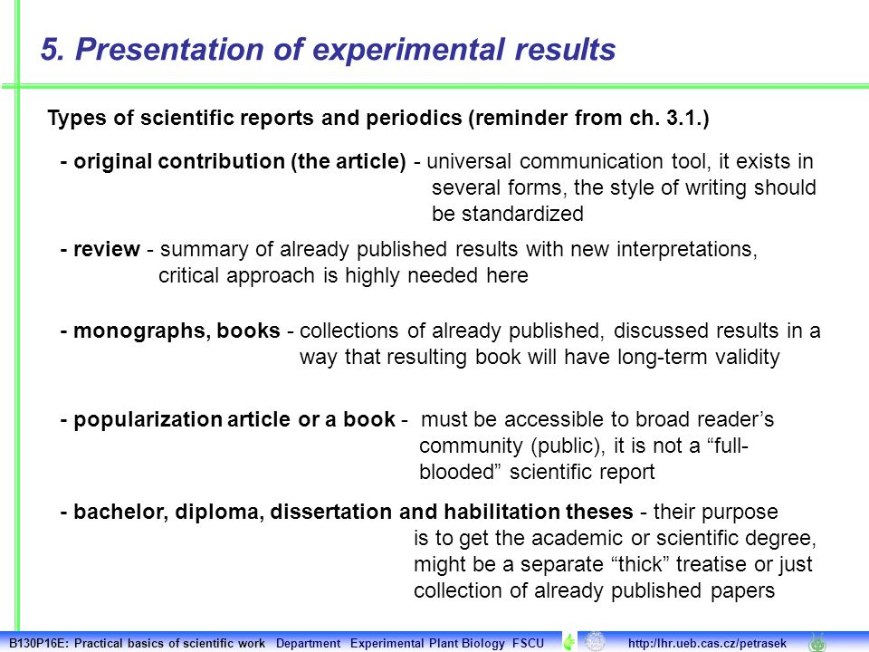 Types Of Scientific Reports And Periodics Reminder From Ch