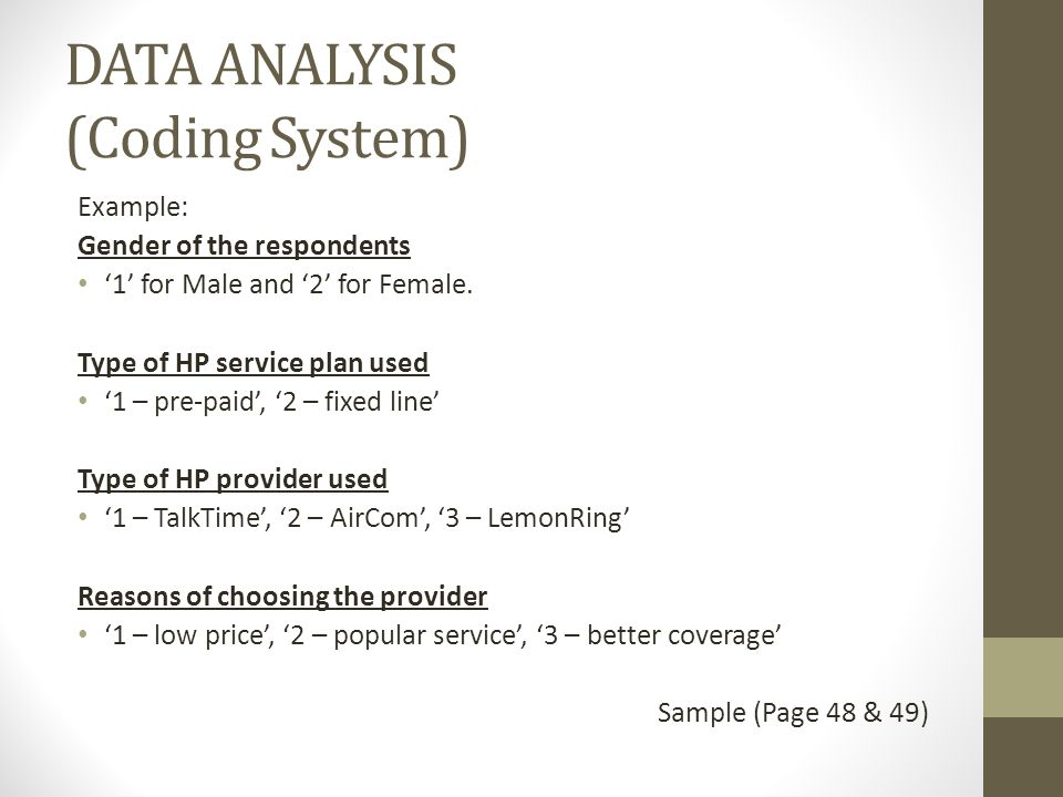 Findings And Discussion Data Analysis Coding System Example