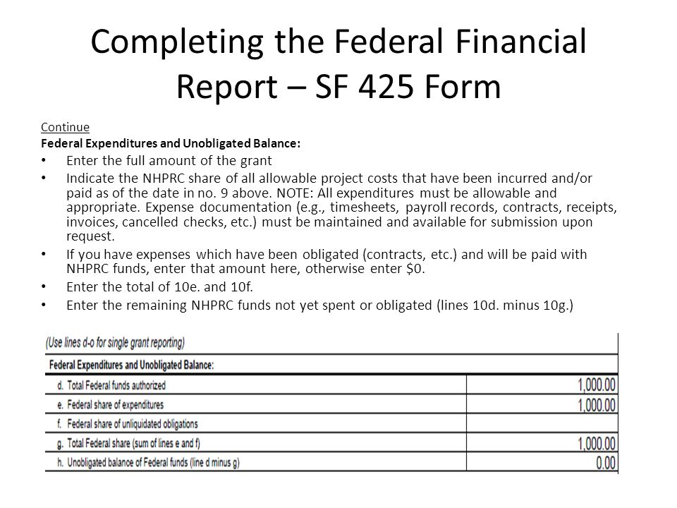 Grant Report Form. Completing The Federal Financial Report – Sf