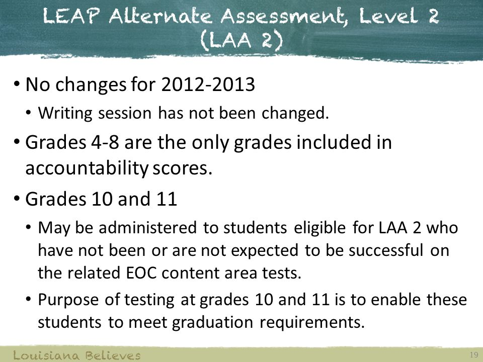 LEAP Alternate Assessment, Level 2 (LAA 2) 19 Louisiana Believes No changes for Writing session has not been changed.
