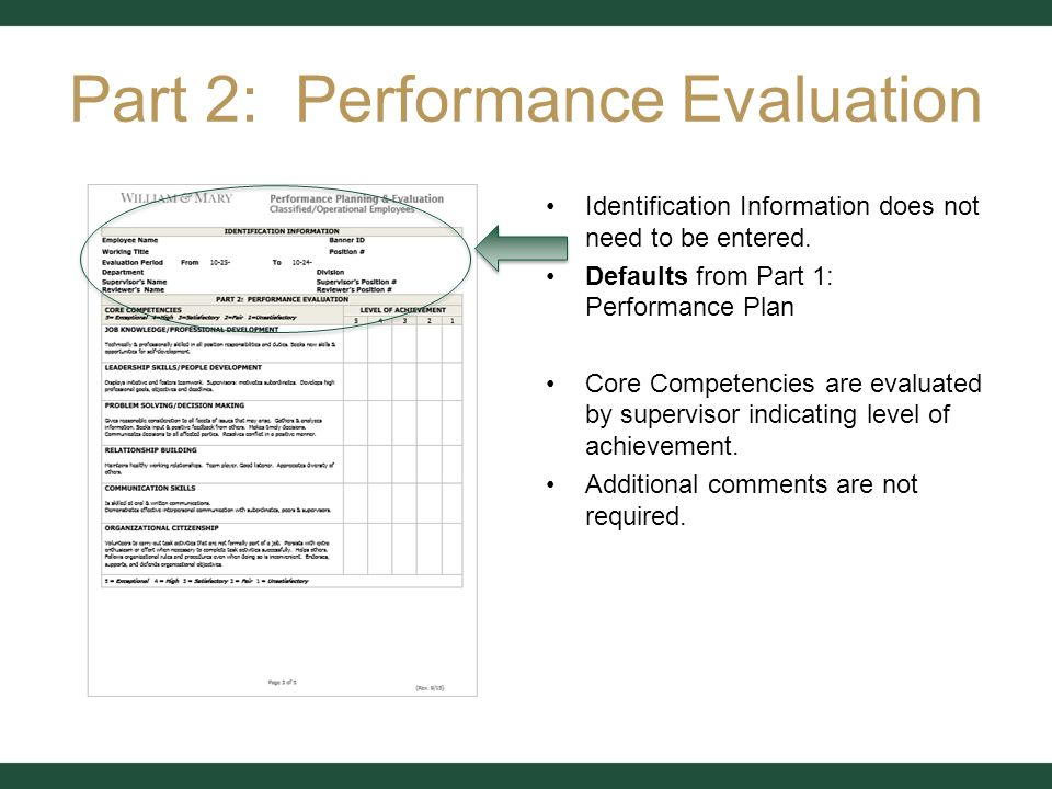 Performance Planning & Evaluation Classified & Operational Form