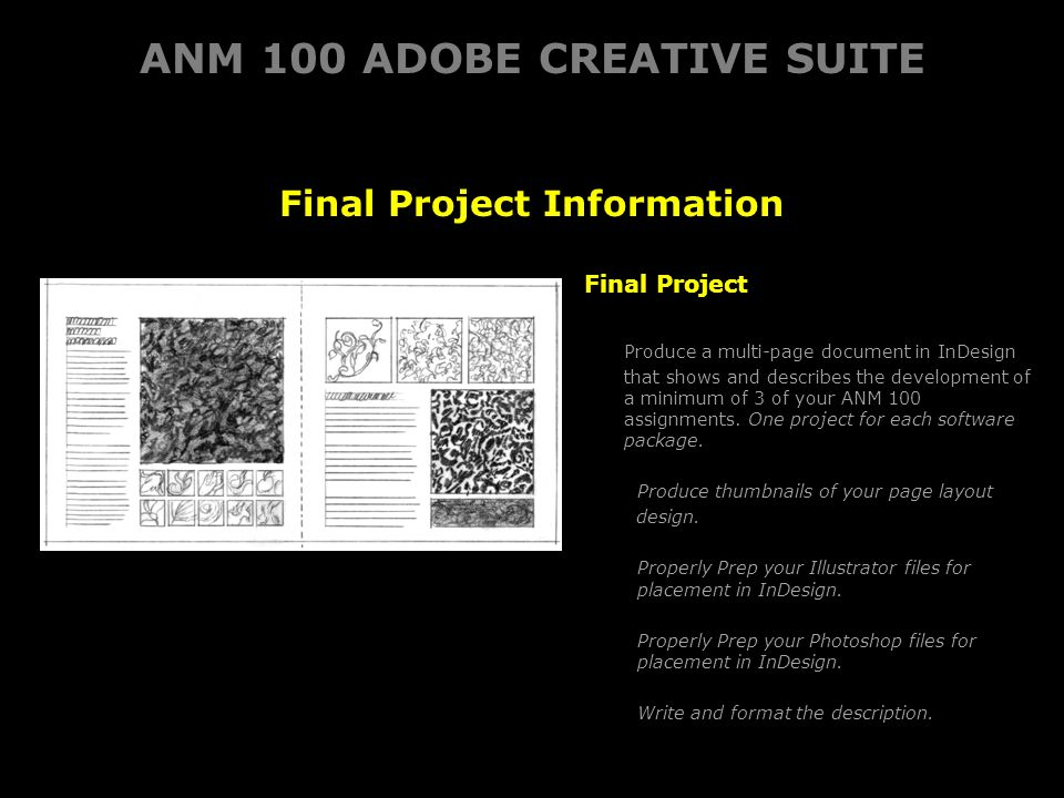 ANM 100 ADOBE CREATIVE SUITE Final Project Information Final Project Produce a multi-page document in InDesignthat shows and describes the development ofa minimum of 3 of your ANM 100assignments.