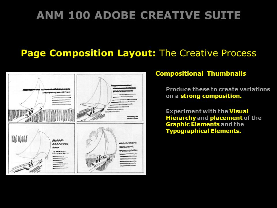 ANM 100 ADOBE CREATIVE SUITE Page Composition Layout: The Creative Process Compositional Thumbnails Produce these to create variationson a strong composition.