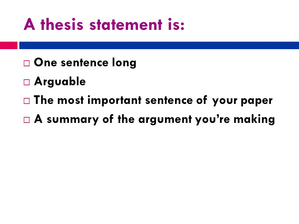 How long is a thesis statement?